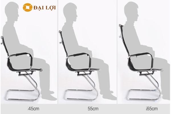 Ghế GL410 có các kích thước lưng khác nhau, đây là hình ảnh người ngồi sử dụng với các tầm lưng cao khác nhau