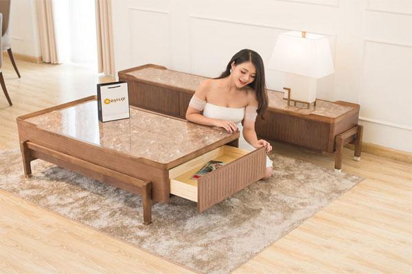 Bàn sofa mặt đá cẩm thạch nhân tạo tuyệt đẹp