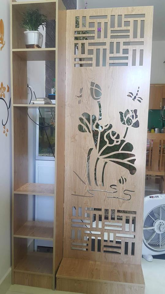 vách ngăn gỗ CNC hoa sen