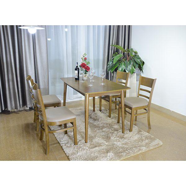 Bộ bàn ăn 4 ghế gỗ tự nhiên