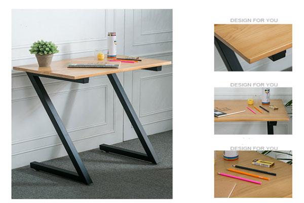 Mặt bàn làm bằng gỗ tự nhiên như gỗ cao su chân bàn hình chữ Z sơn tĩnh điện nhiều màu sắc.