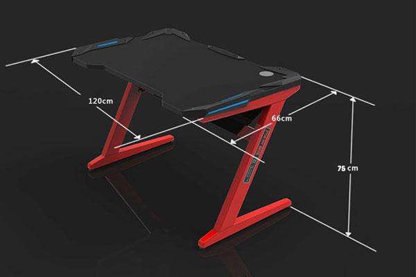 Kích thước bàn Gaming tiêu chuẩn, cao 750mm, rộng 600mm và dài 1200mm