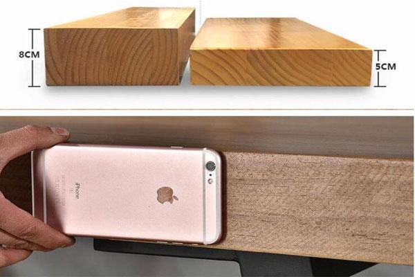 Độ dày của mặt bàn cũng tùy từng thiết kế có độ dày từ 5cm đến 8 cm