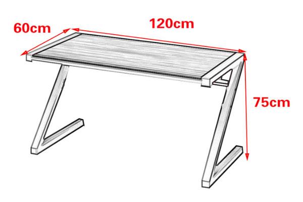 Đây là kích thước tiêu chuẩn và phổ thông của dòng bàn làm việc chữ Z. Chiều dài 1200mm, rộng 600mm và cao 750mm.