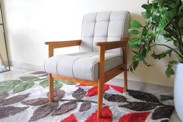 Review ghế sofa đơn gỗ sồi bọc nỉ