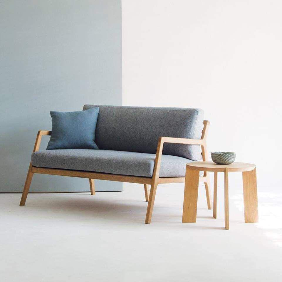Sofa đôi khung gỗ sồi