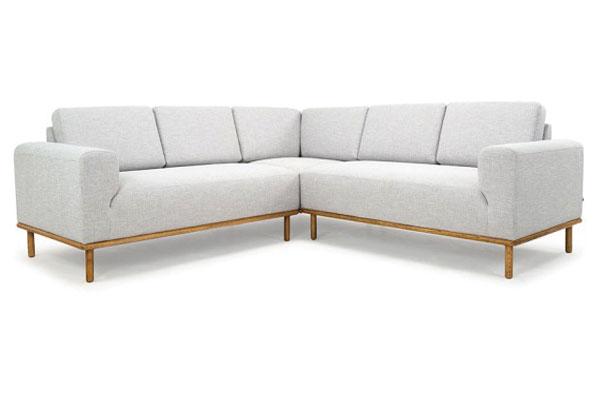 Sofa góc nỉ D100 - Màu ghi trắng