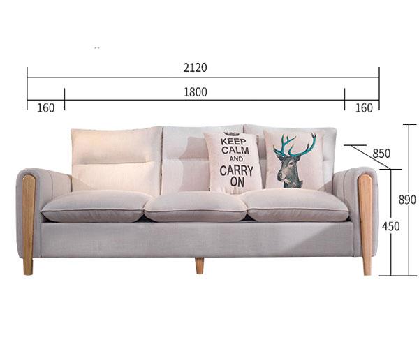 kích thước chi tiết của sofa phòng khách