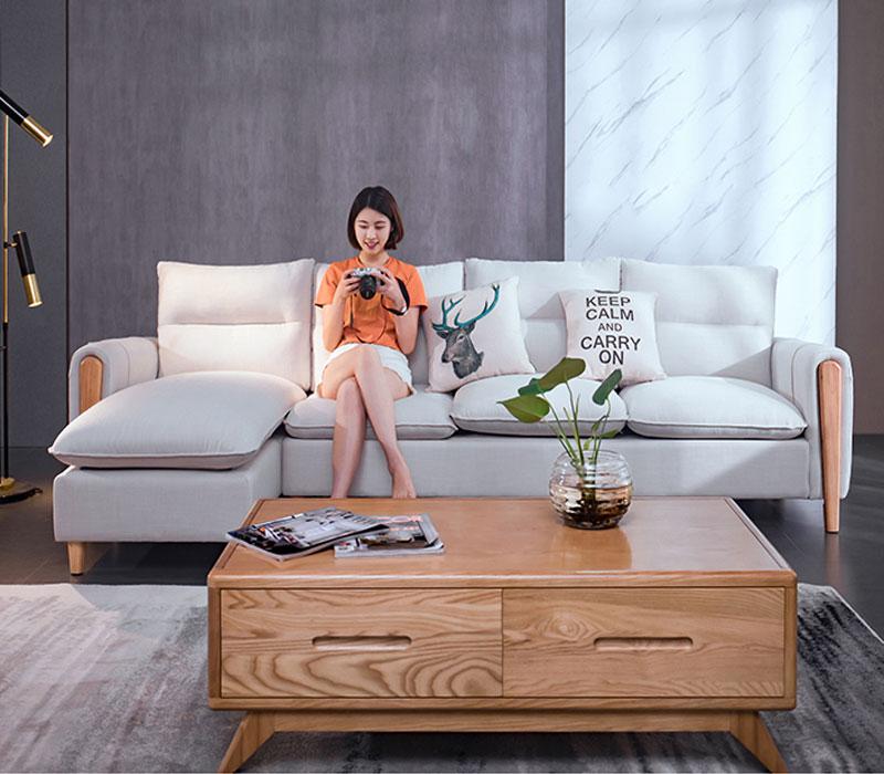 Sofa phòng khách nỉ 501 tông trắng kết hợp với bàn sofa gỗ tạo cho không gian phòng khách sáng trọng, năng động