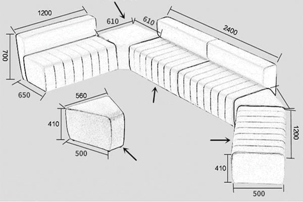 Kích thước sofa văn phòng thiết kế decor