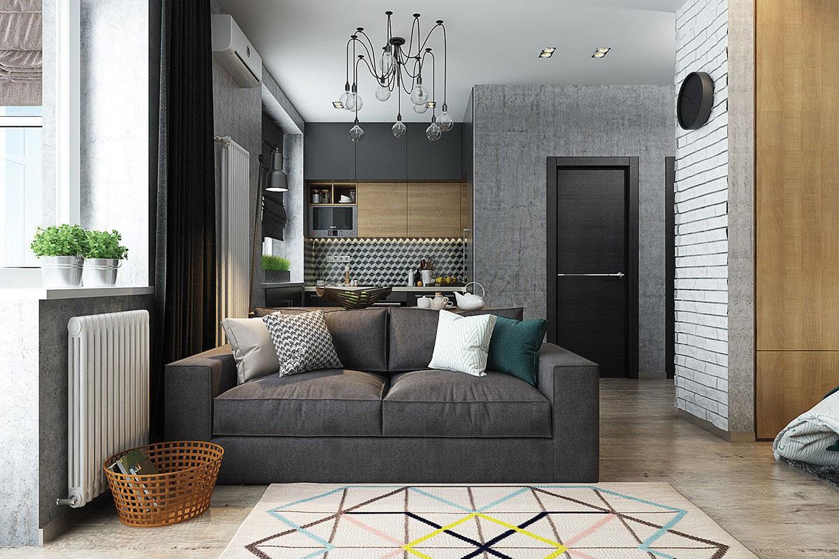 Phòng khách ân tượng với ghế Sofa màu đen thiết kế sang trọng