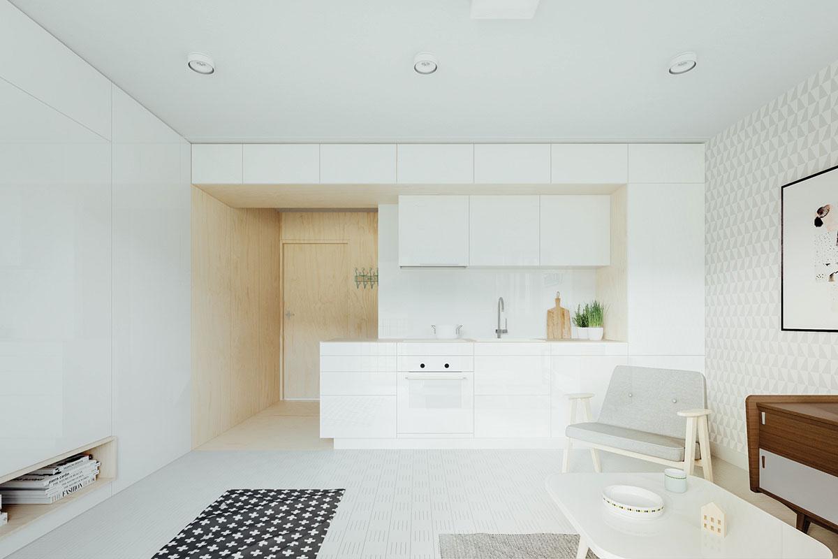 Khu vực bếp và cửa chính vào nhà của căn hộ 50m2