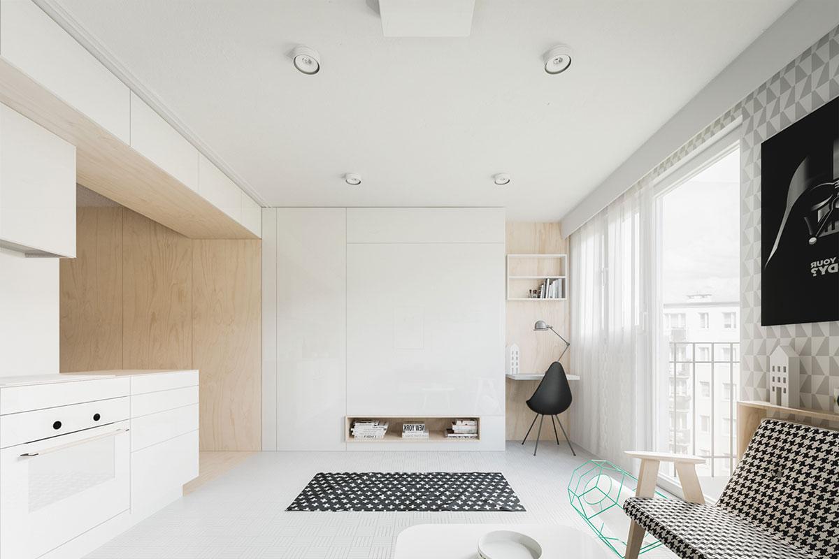 Thiết kế phòng màu sáng trắng với đường nét đơn giản làm cho không gian căn phòng cảm giác rộng hơn một chút so với thực tế.