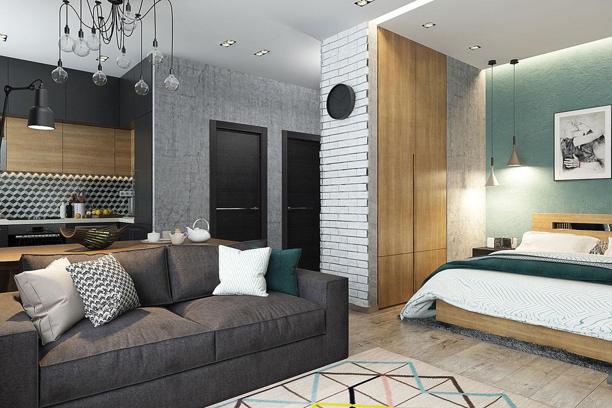 Không gian phòng khách của căn hộ studio