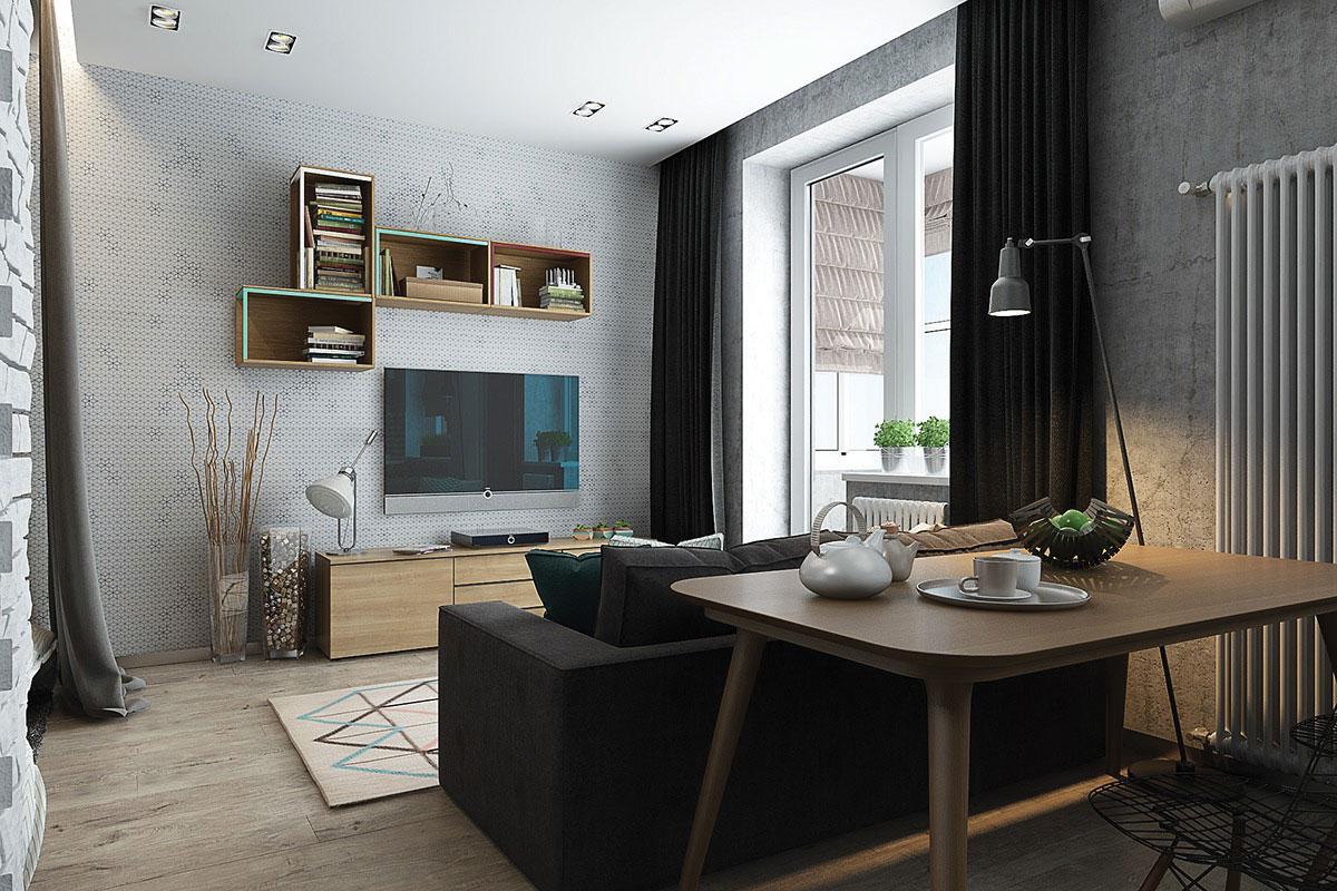 Kệ tivi và trang trí được gắn liền tường, kết hợp trang trí giá sách