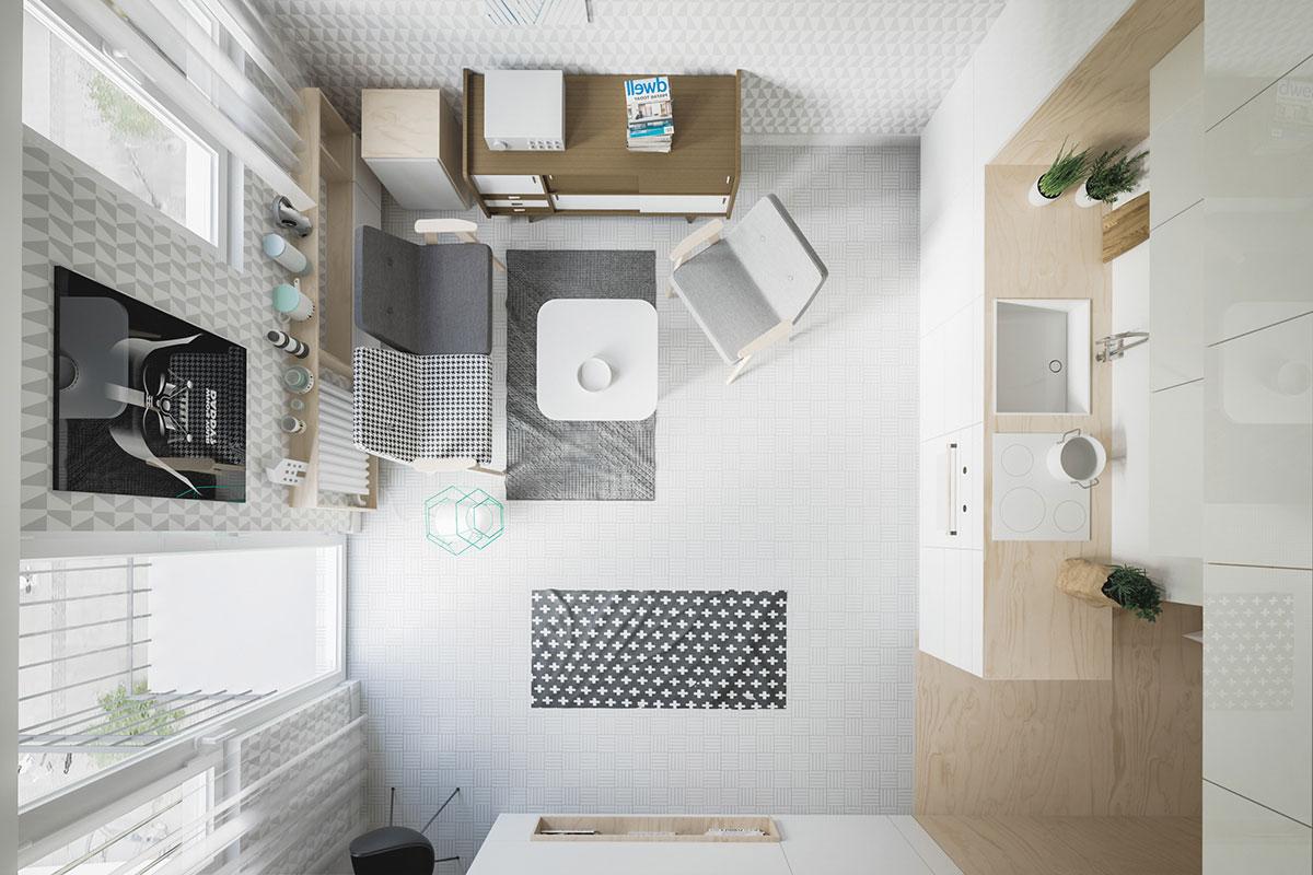 Hình ảnh thiết kế nội thất tổng thể của căn hộ 50m2 gồm có đủ phòng khách, phòng ngủ, phòng bếp, ban công