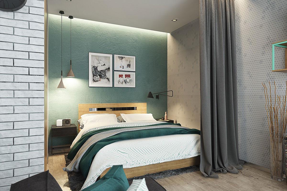 Khu vực phòng ngủ rất ẩn tượng với rèm mềm và chút ánh sáng, màu sắc kết hợp tạo phòng ngủ đẹp tuyệt vời