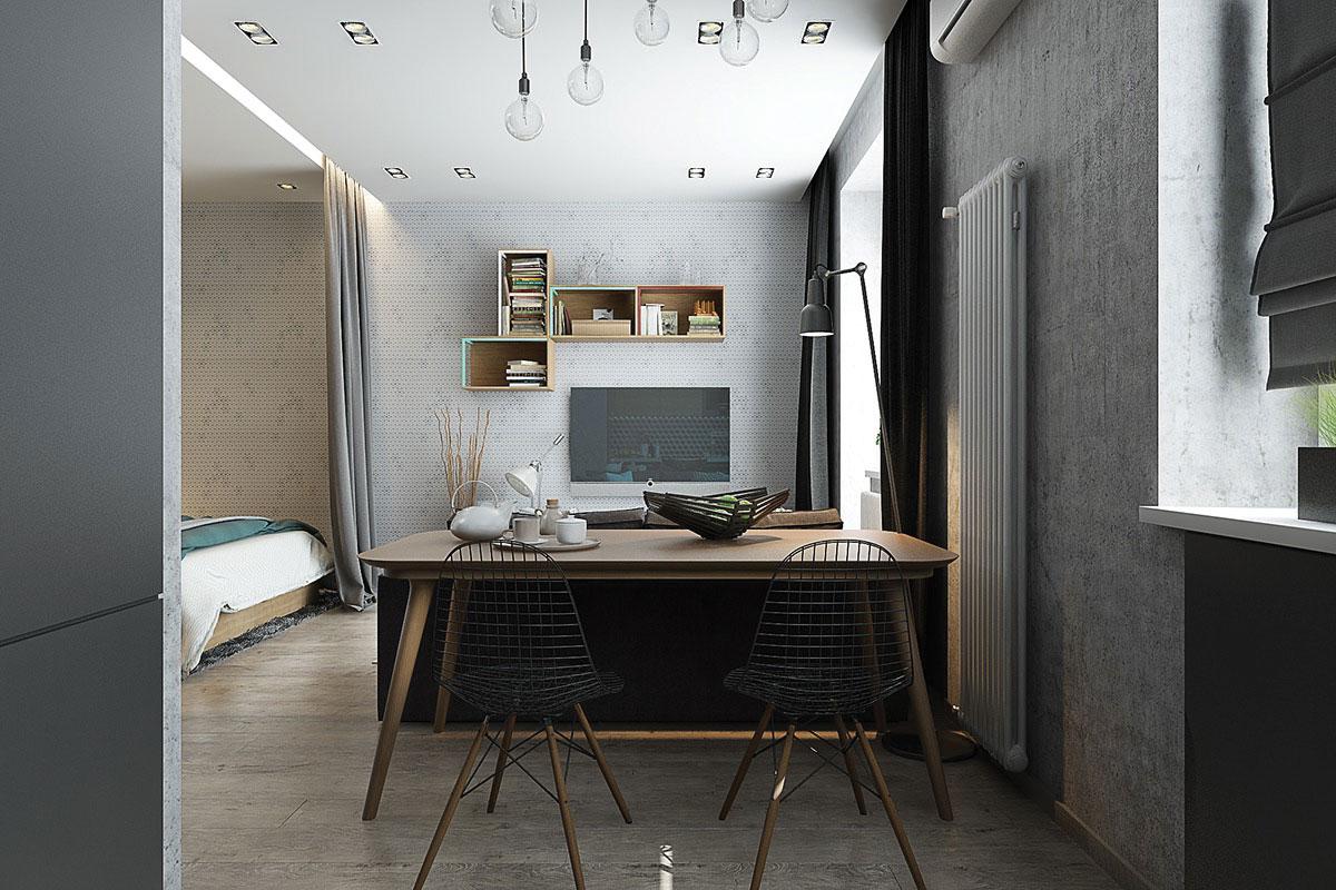 Bộ bàn ăn gỗ sồi kết hợp với ghế Eames khung sắt chân gỗ làm điểm nhấn cho phòng ăn