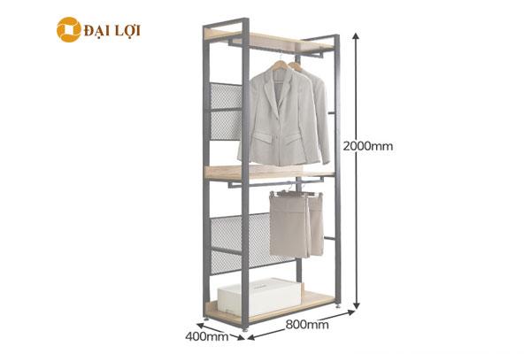 Kệ sắt treo quần áo có kích thước phổ biến cao 2000 mm x rộng 800 mm, sâu 400 mm
