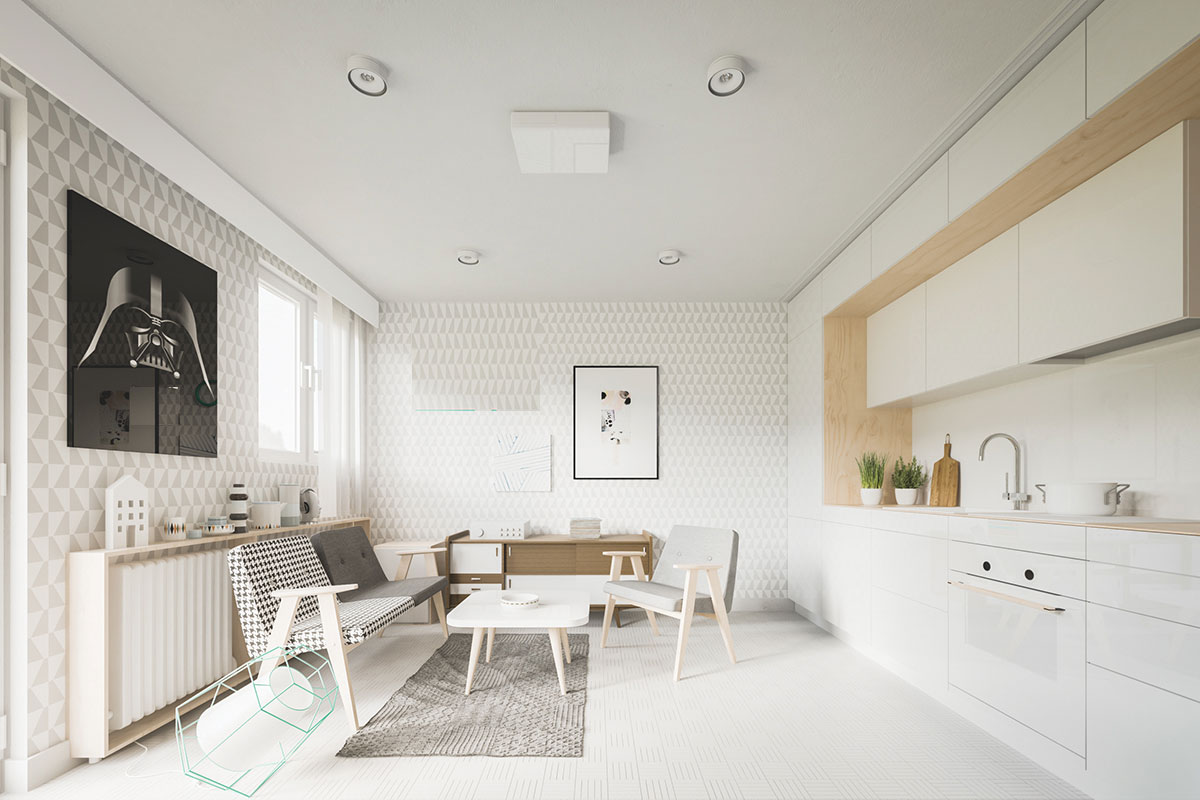 Thiết kế căn hộ nhỏ dưới 50m2 tối ưu diện tích với bộ sofa phòng khách nhỏ 2 chỗ ngồi và 1 ghế đơn, bếp liền với phòng khách