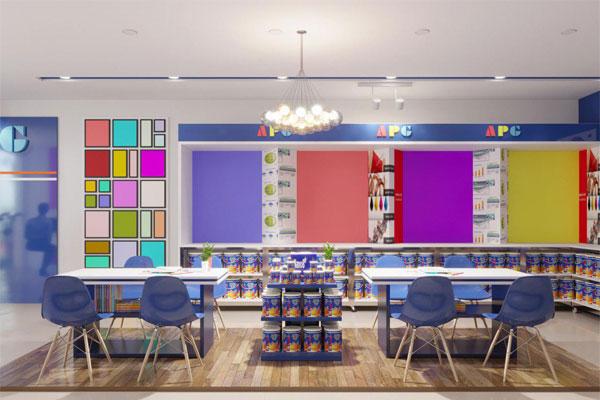 Thiết kế khu vực tư vấn khách hàng tại cửa hàng sơn, sử dụng bàn và ghế Eames