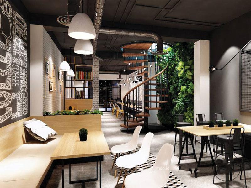 Thiết kế quán cafe lãng mạn hiện đại