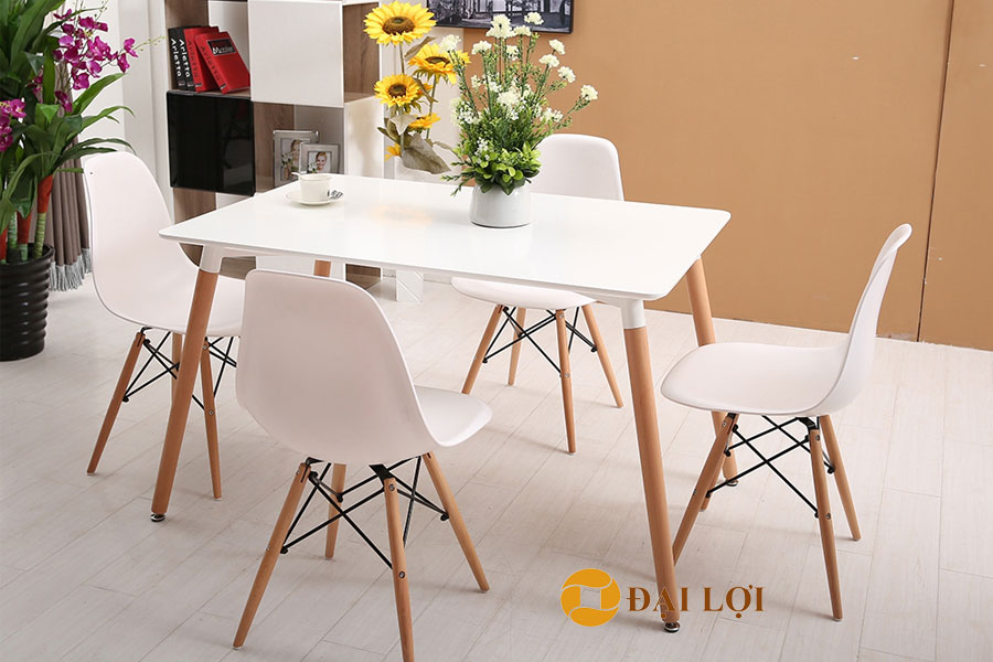 Bộ bàn ăn 4 ghế hiện đại Eames màu trắng
