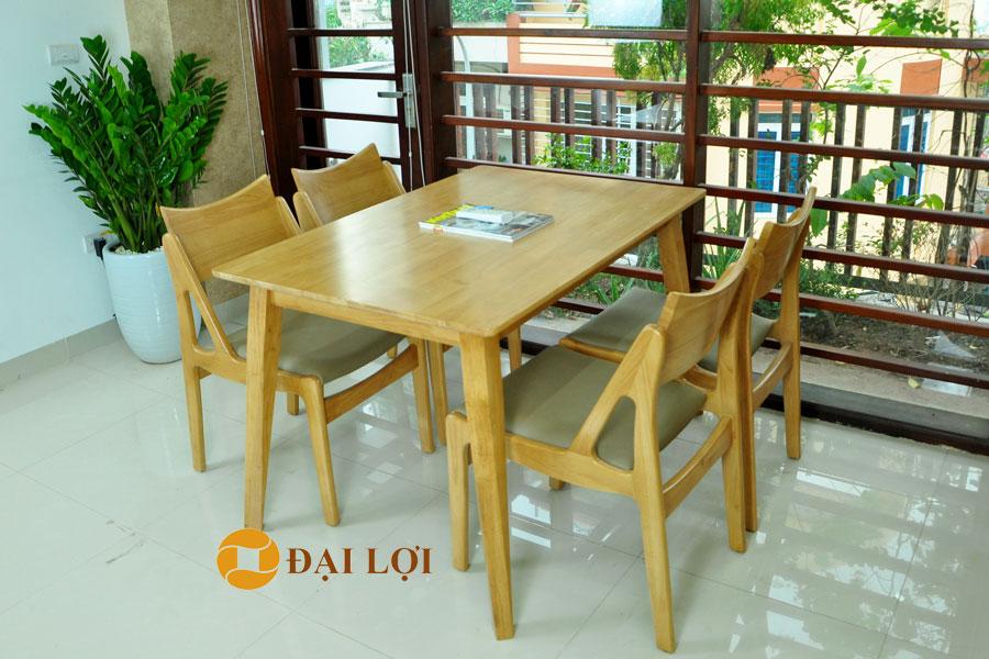 Bộ bàn ăn 4 ghế gỗ cao su Osaka