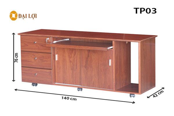 tủ phụ tp03 dành cho bàn giám đốc, thiết kế kệ để CPU và tủ hộc đi kèm