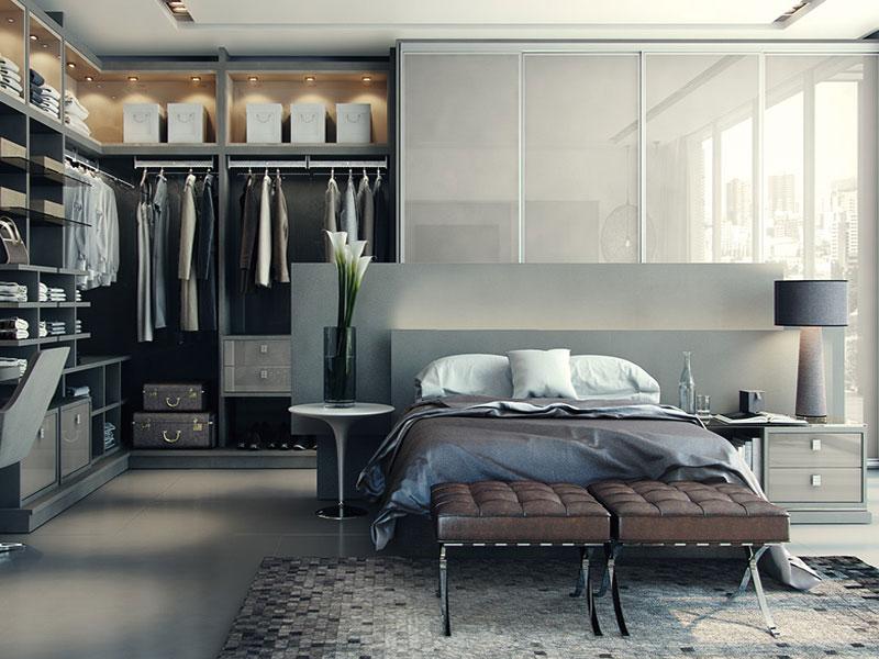 Tủ quần áo thiết kế liền với kệ trang trí và bàn làm việc tại phòng ngủ