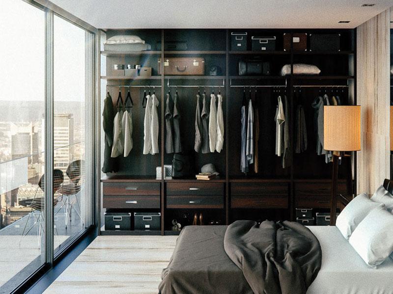Tủ quần áo mang phong cách tân cổ điển, thiết kế nổi bật với tông màu đen sẫm với các khung sắt sơn tĩnh điện và ngăn đồ nhỏ.