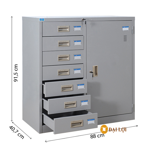 Tủ tài liệu sắt 2 buồng 7 ngăn kéo TU88-7N